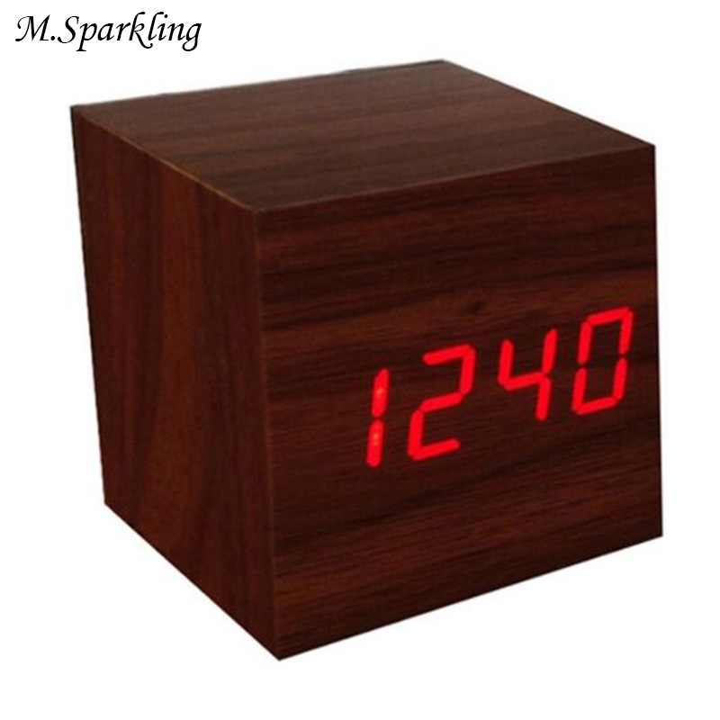 M.Sparkling Desk Clock Creative Wooden Square LED Clocks Digital Alarm Clock Thermometer Time Change Modern LED Table Clocks