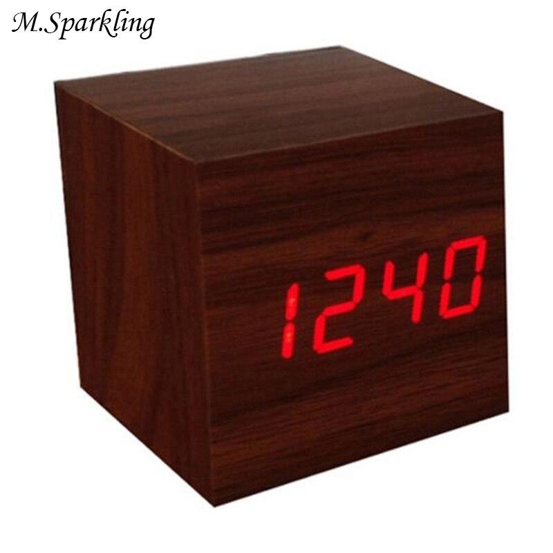 M.Sparkling Desk Clock Creative Wooden Square LED Clocks Digital Alarm Clock Thermometer Time Change Modern LED Table Clocks