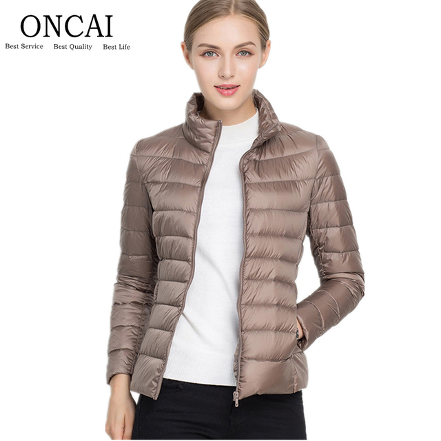 Packable Duck Feather Women S Winter Down Parka Jacket Puffer Long Sleeve Solid Female Warm