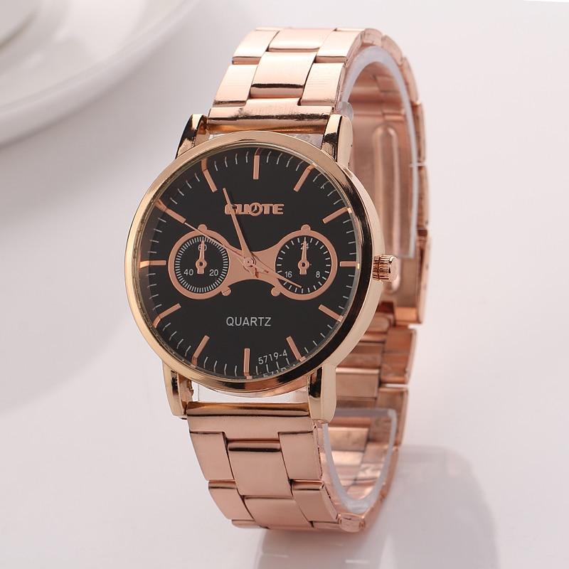 Alloy Watch 2016 New Guote Fashion Geneva Watch Women Dress Watches Rose gold Full Steel Analog