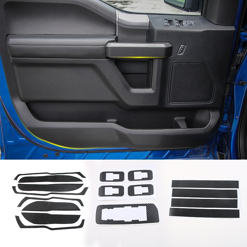 MOPAI Carbon Fiber Sticker Car Interior Anti Kick Scratch Stickers Decoration Cover Fit For Ford F150 2015 Up Car Styling