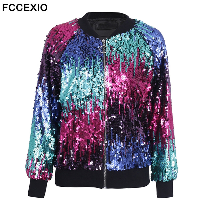 FCCEXIO 2019 New Sequin Zipper   Jacket   Coat Female Casual Streetwear Bomber   Jacket   Hot Sale Women Outerwear Fashion   Basic     Jacket