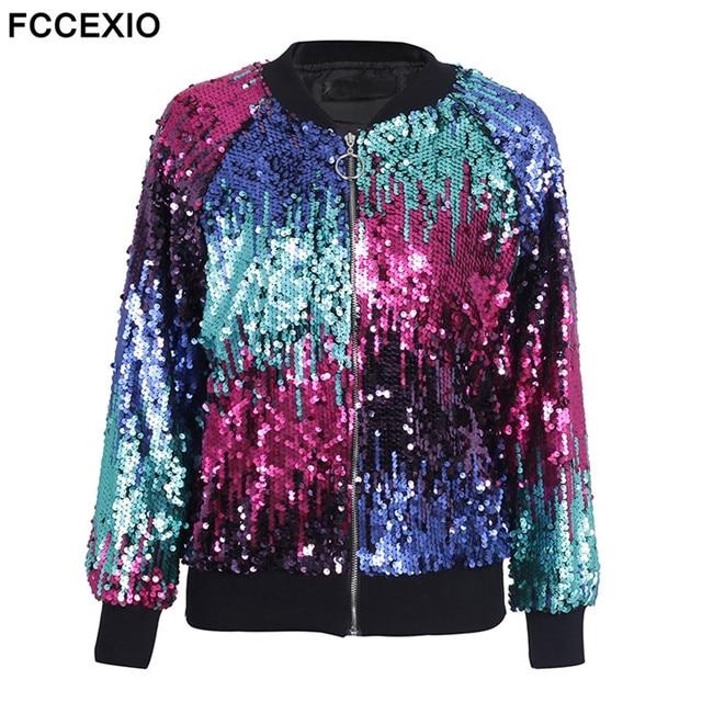 FCCEXIO 2019 Nouveau Sequin veste à glissière Manteau Femme décontracté Streetwear Blouson offre spéciale vêtement d'extérieur pour femmes Mode Veste De Base