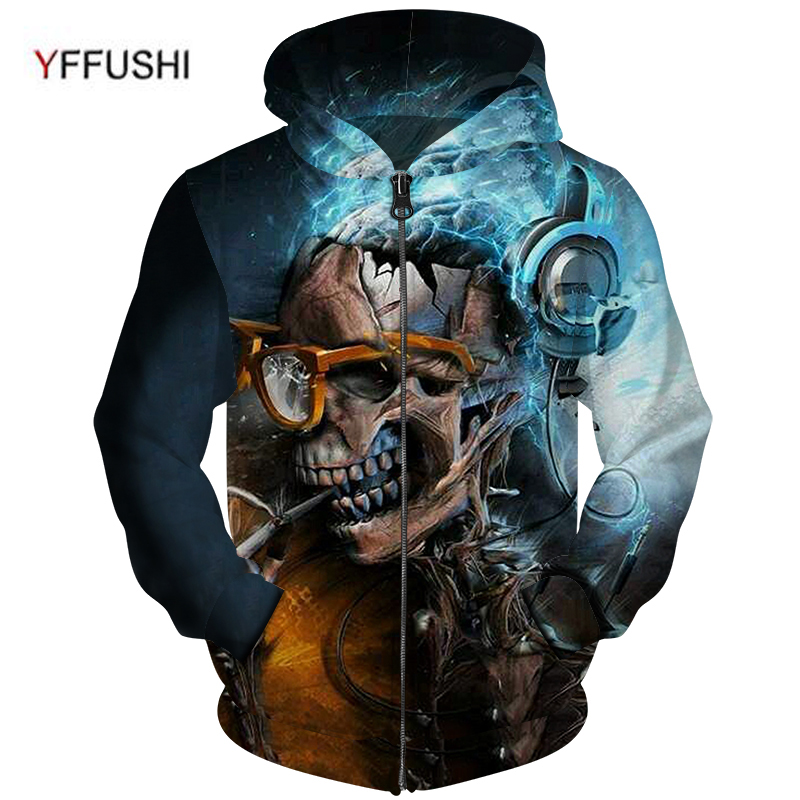 YFFUSHI 2018 High Quality Plus Size 5XL Zipper Jacket Men Unique Skull 3d Print Coat Pocket Outwears Hip Hop Zipper Hoodies