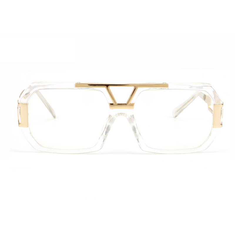 Peekaboo Neue mode übergroßen gold klaren rahmen gläser platz ...