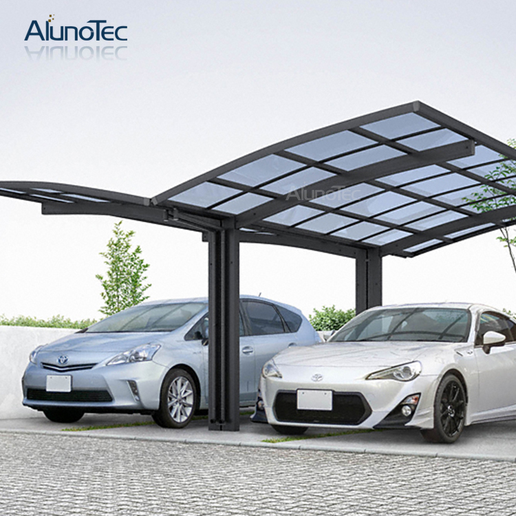 Outdoor Aluminum Carport With Polycarbonate Roof For Double Cars