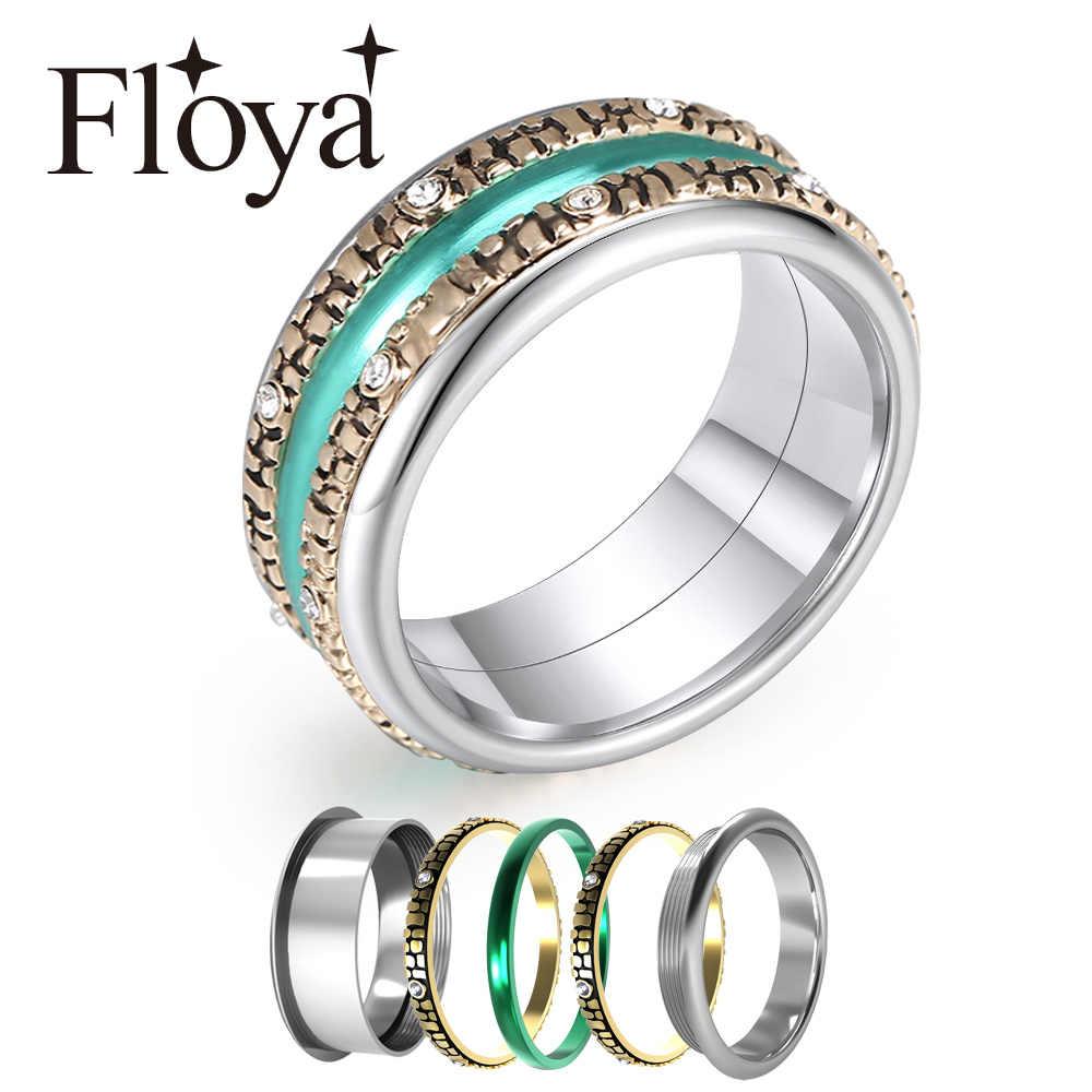 Floya Rtro แหวนสแตนเลส Arctic Symphony แหวน Reversible เปลี่ยนขนาดใหญ่ 3 ชั้นแหวน Femme Bague ของขวัญ