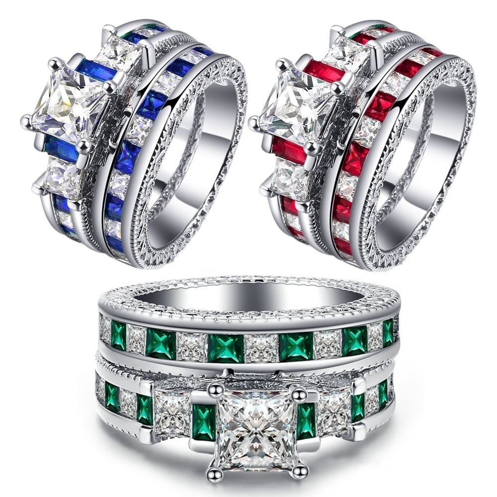 Fashion Hyperbole Luxury Brand Cubic Zirconia Wedding Ring Set Red Blue Green Engagement Rings For Women in Engagement Rings from Jewelry Accessories