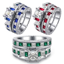 Fashion Hyperbole Luxury Brand Cubic Zirconia Wedding Ring Set Red Blue Green Engagement Rings For Women