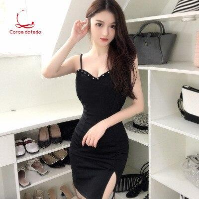 Evening bar female KTV princess dress sexy one word condole belt slim body wrap buttock rivet slit open back dress