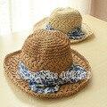Летом соломенная женщин-бич шляпы для женщин большой бант широкими полями шляпах женский бесплатная доставка SCCDS-011