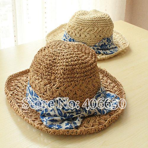 Verão palha praia chapéus para mulheres grande arco aba larga Sun chapéus flexíveis feminino frete grátis SCCDS-011
