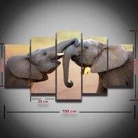 แอฟริกันช้างภาพวาดภาพผ้าใบศิลปะunframe 5แผงสัตว์ภูมิทัศน์ตกแต่งผนังสำหรับห้องนั่งเล่นพิมพ์ห...