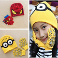 Hot ! Children's Cap + Gloves Hat scarf set  Winter Cartoon Minions Glove Hats Sets Fashion Kids Baby Warm Knitted Caps Gloves