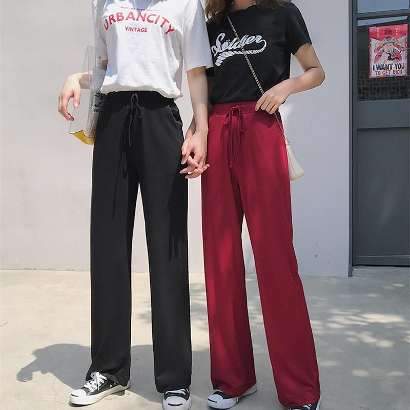 The new high-quality silk female summer high waist   wide     leg     pants   loose trousers straight mopping cool drape trousers