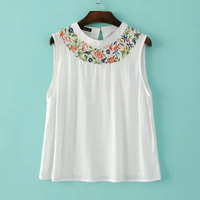 2016 New Women Fashion Vintage Sleeveless Vest Embroidered Floral Tank Tops Summer Style G34