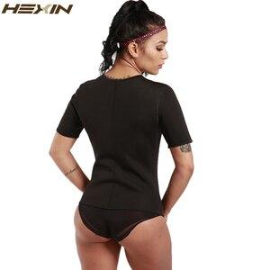 Image 4 - HEXIN זיעה גוף Shaper חולצה תרמו הרזיה סאונה חליפת משקל אובדן שחור Shapewear עם שרוולים Neoprene מותן מאמן