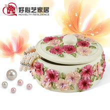 Rustic embossed flower gift decoration jewelry storage box jewelry box(China)