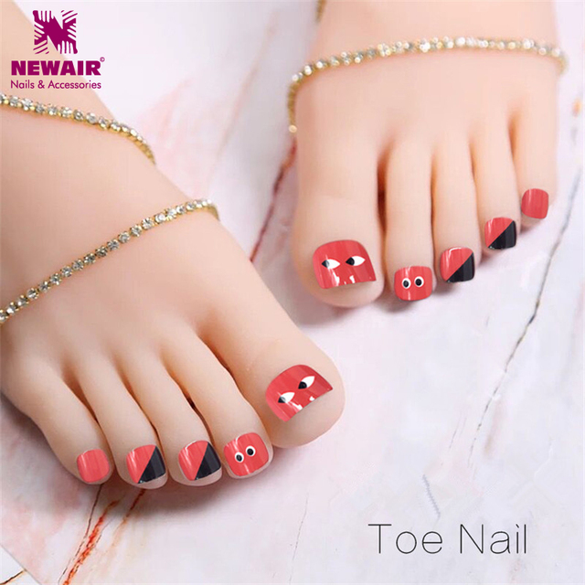 Simple Design Red Toe False Nails 24pcs finished Fake Nail Full ...