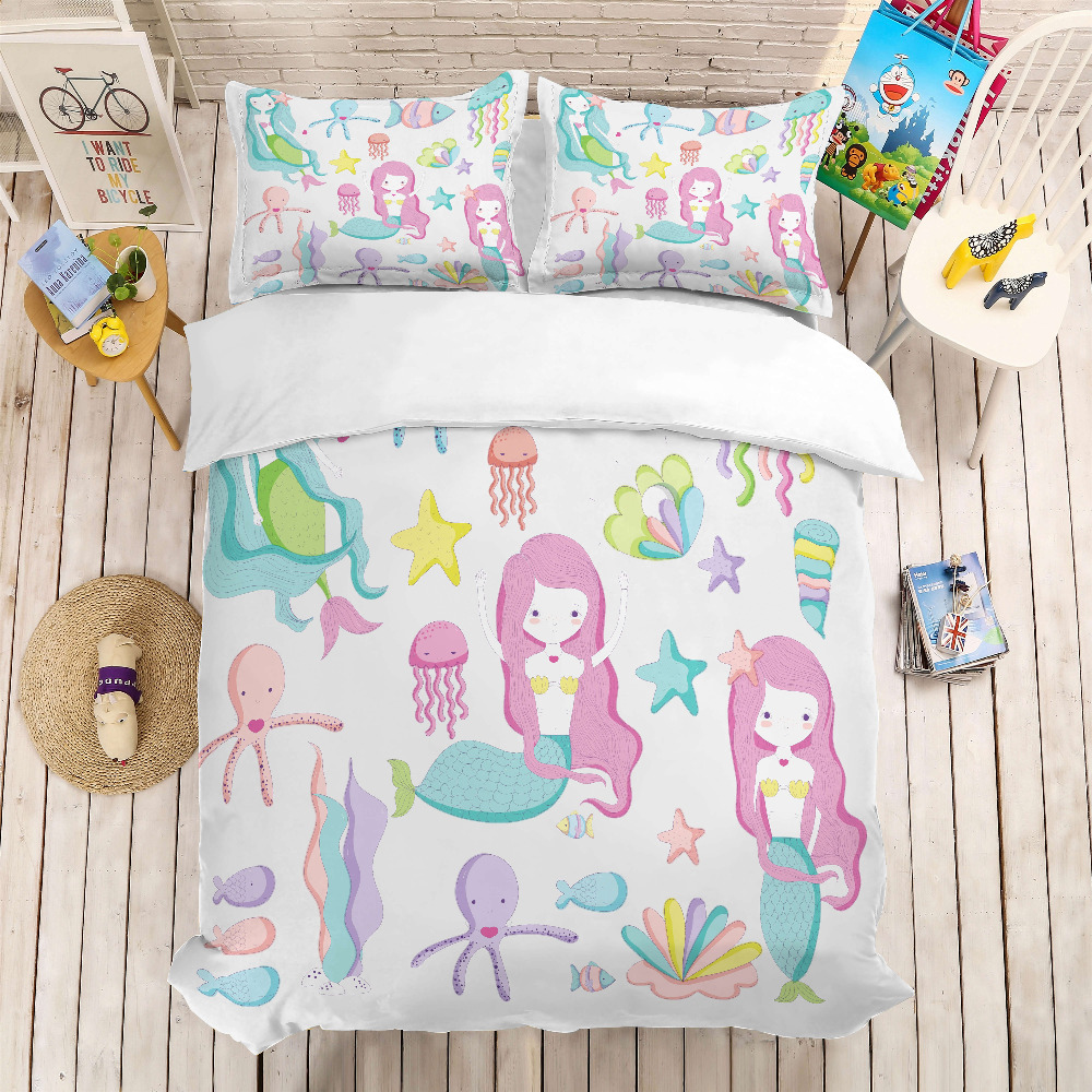 MUSOLEI 3D Duvet Cover Set Mermaid Girl, Starfish, Jellyfish, Water Grass.Soft Bed Bedding Set Twin Queen King Size