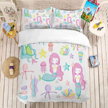 MUSOLEI 3D Duvet Cover Set Mermaid girl, starfish, jellyfish, water grass.Soft Bed Bedding Set Twin Queen King Size(China)