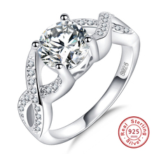 Best Friend Gift 925 stamped silver Infinity Ring Endless Love Symbol Wholesale AAA CZ Fashion Rings For Women jewelry gift