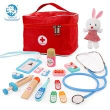 Baby Wooden Pretend Play Doctor Educationa Toys for Children Medical Simulation Medicine Chest Set for Kids Interest Development