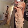 2015 нью-лонг пром знаменитости платья красной ковровой дорожке с кристально шифон высокого шеи сексуальные женщины ким кардашян вечернее платье платья