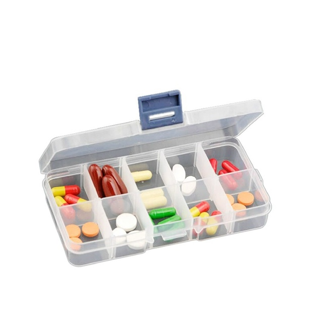 Small 10cells transparent plastic storage box storage jewelry box