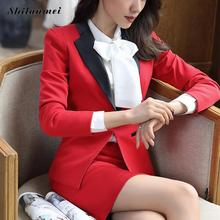 New Fashion Women Skirt Suits Set Business Formal Long Sleeve Patchwork Blazer And Skirt Office Ladies Plus Size Work Uniforms