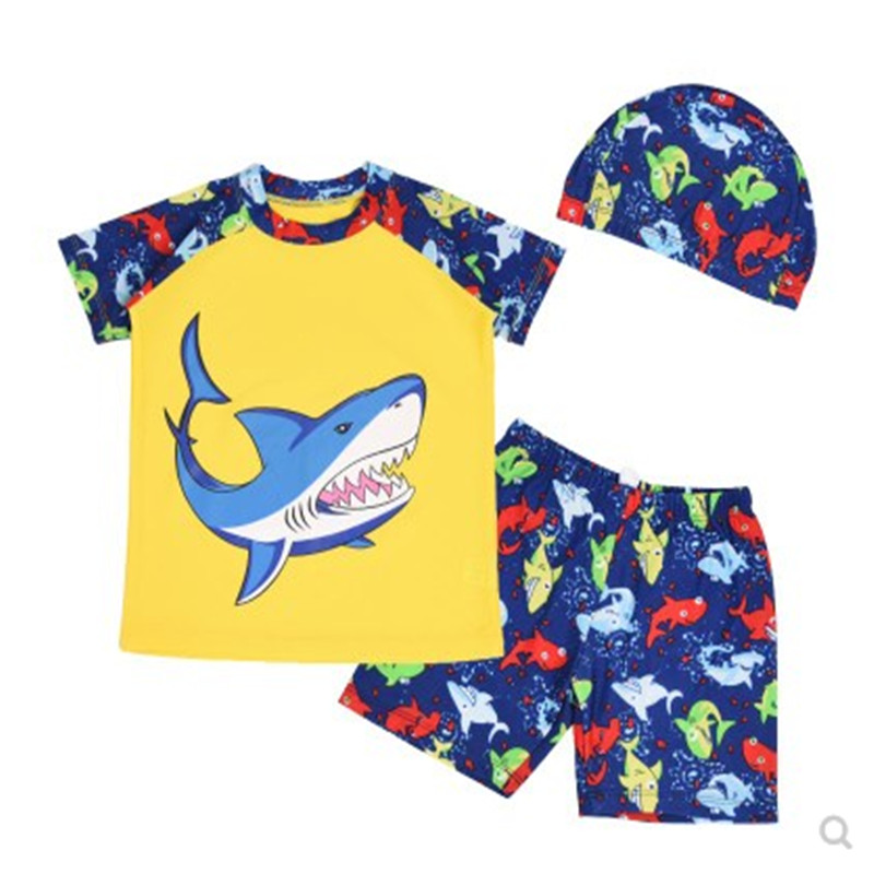 2-8 Years Baby Boys Kids Short Sleeve UV Sun Protection Rash Guards Swimsuit With Hat, C ...