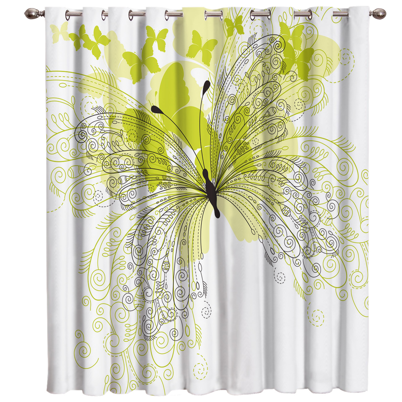Yellow Flower Butterfly Window Treatments Curtains Valance Room Curtains Large Window Window Curtains Dark Curtain Lights Living