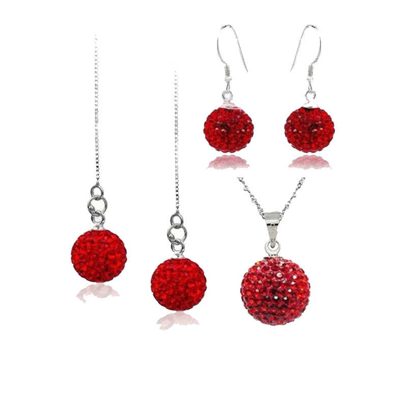 Big Promotion Jewelry Sets 925 Sterling Silver  Austrian Crystal Disco Ball Beads Necklace Chains Earring Ear Thread Set