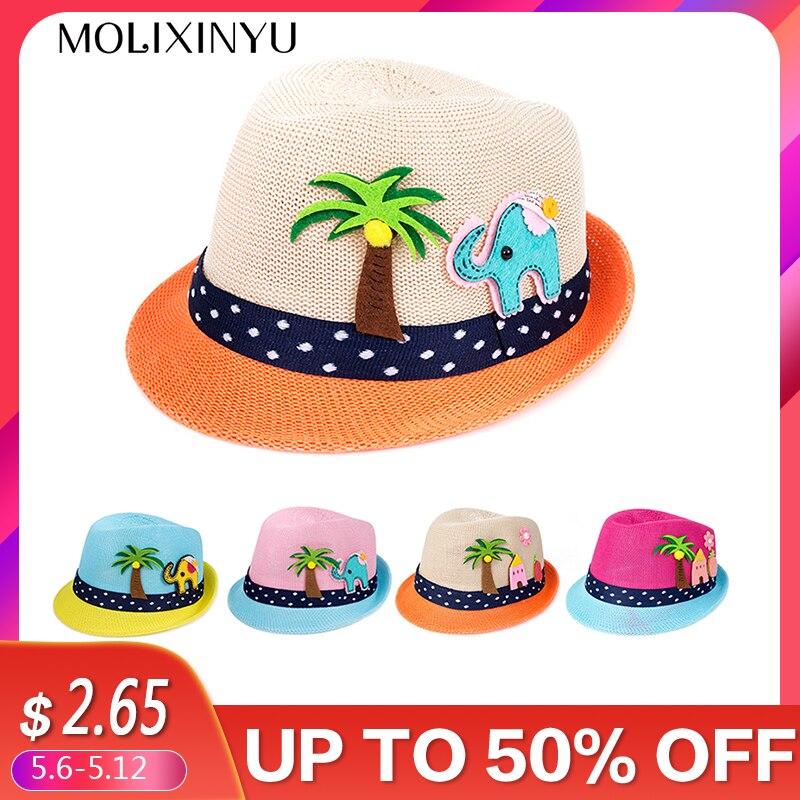 f3b0df3c MOLIXINYU Summer Baby Hat Fashion Children Cap For Girls Boys Kids Sun Hat  Baby Boys Beach Cap Straw Kids Jazz Hat