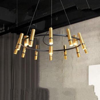 Suspendu Post Modern Luxury Pendant Lamps Creative Living Room Hanging Circular Golden Cylinder Chandelier Lighting Led Fixtures