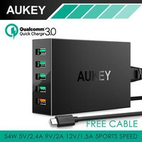AUKEY Quick Charge 3 0 5 Port Desktop Charging Station Smart USB Charger For Samsung Galaxy
