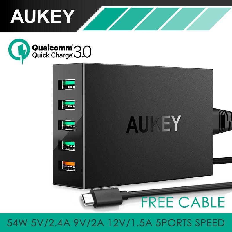 imágenes para Carga rápida 3.0 5-puertos aukey escritorio estación de carga usb cargador inteligente con 1 m cable libre para xiaomi htc universal cargador