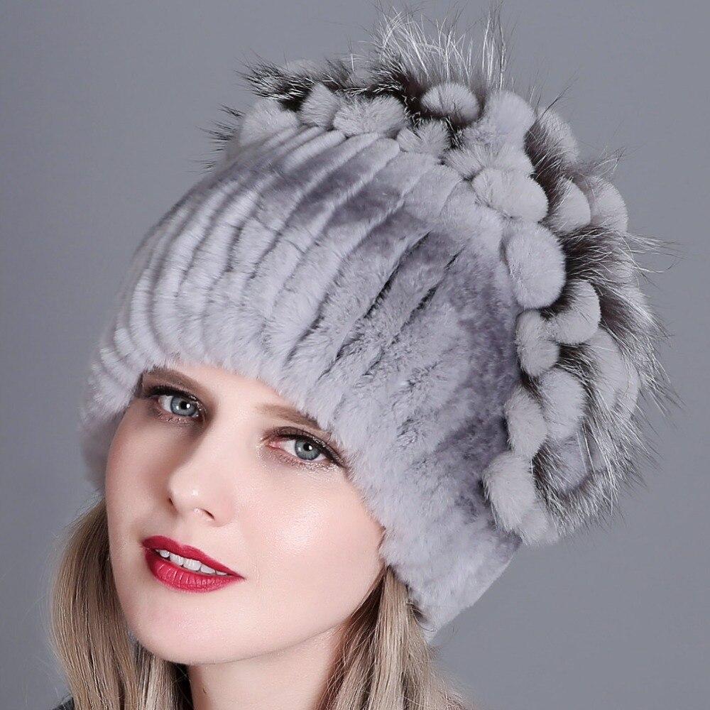 Fur Hat Female Rex Rabbit Hat For Women Winter High Quality Women 39 s Fur Hats Beanies Winter Russian Warm Caps in Women 39 s Bomber Hats from Apparel Accessories