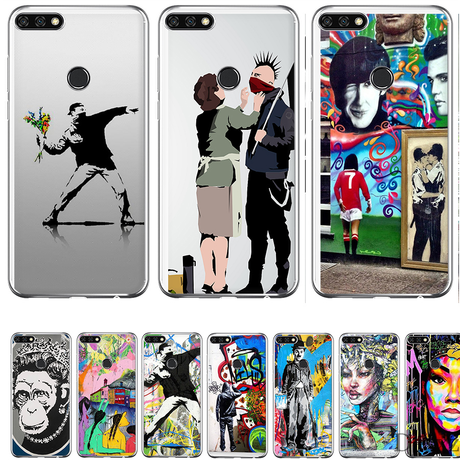 Us 1 55 35 offphone case cover street art banksy graffiti panda for honor 6a 7x 7c 7a 9 10 lite pro 2gb 3gb 8x cases in fitted cases from