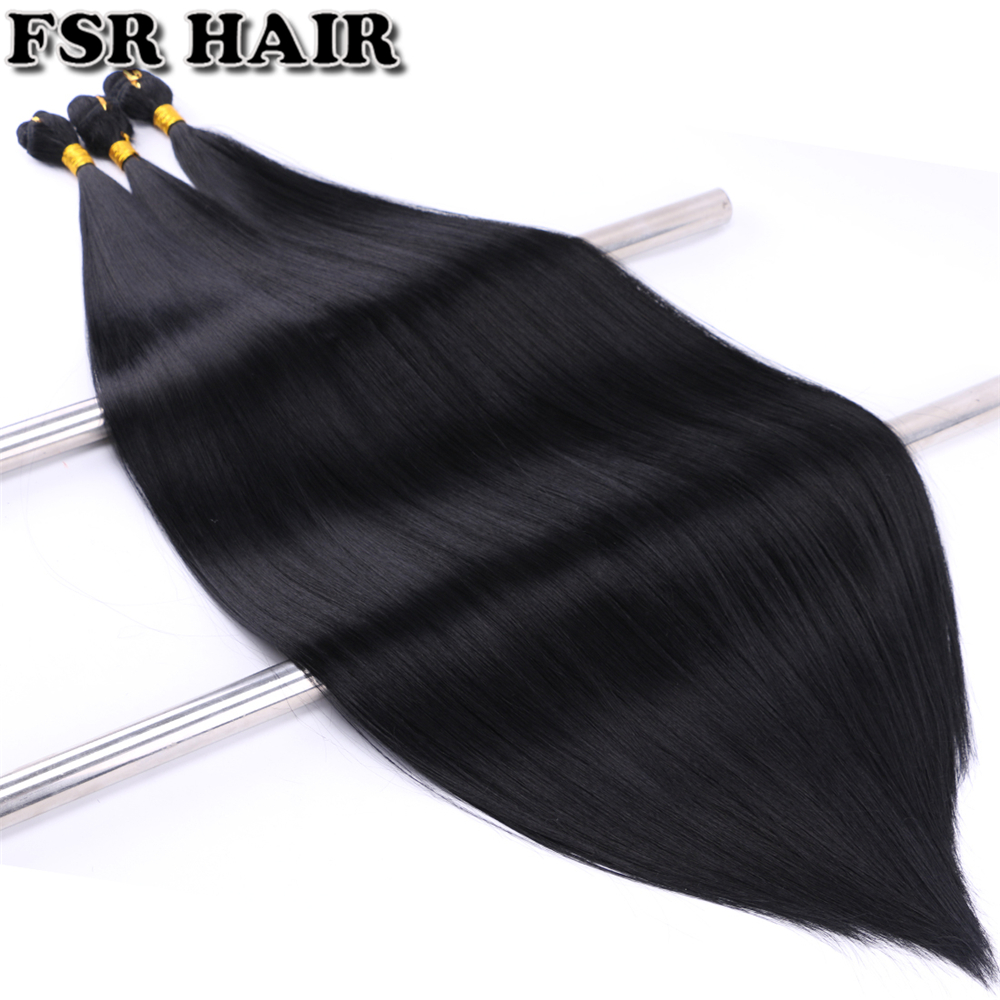 FSR 26 28 30 Inch Over Length Black Synthetic Hair Weave Silky Straight Hair Extension 3 Bundles/pack Hair Product