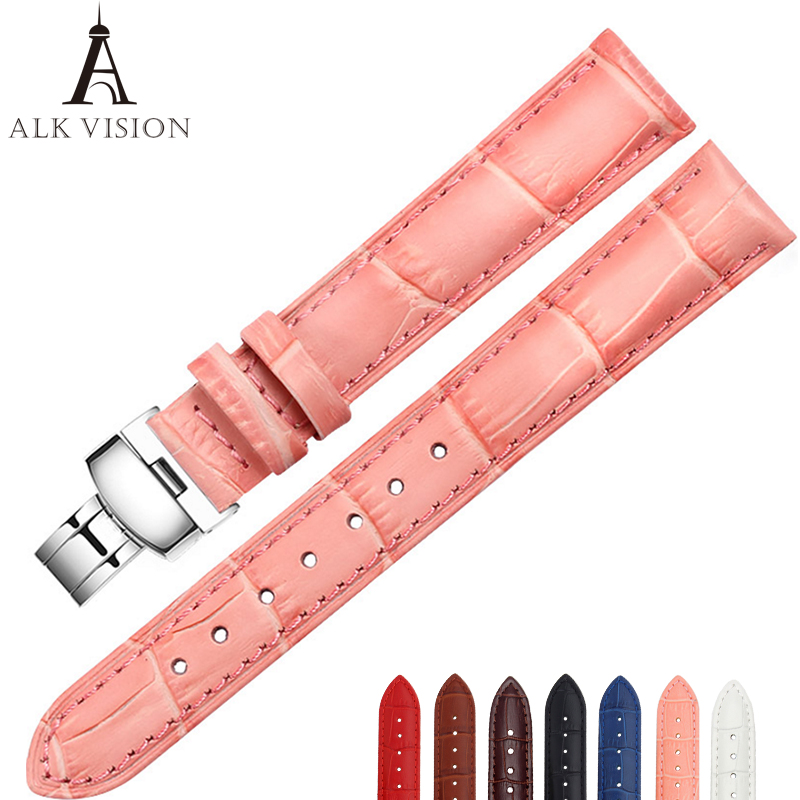 ALK Leather Watch Band Bracelet Strap butterfly deployant Clasp buckle Watchband accessories 14mm 16mm 18mm 19mm 20mm 22mm 24mm zlimsn genuine leather watchband bracelet 24mm 22mm 20mm thick watch strap belt with clasp wristwatch accessories band