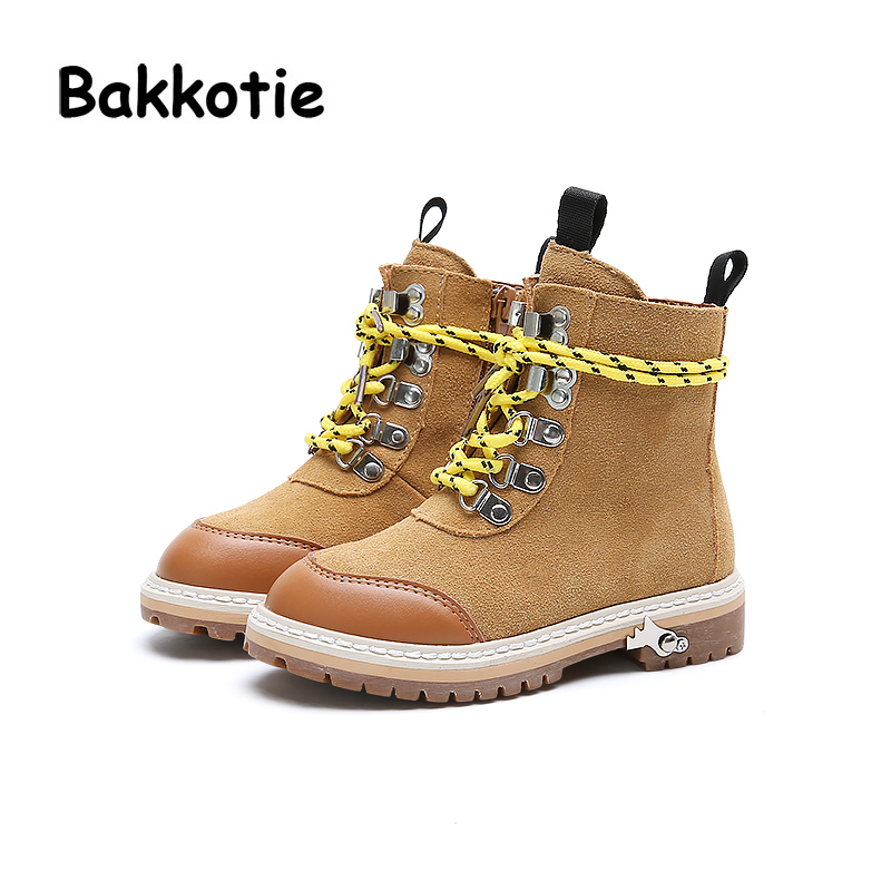 Bakkotie New Autumn Fashion British Style Baby Girl Martin Boots Genuine Leather Child Boy Ankle Boots Kid Brand Toddler Shoe bakkotie 2017 new autumn baby boy casual shoes khaki genuine leather black kid girl brand flat shoes soft sole breathable child