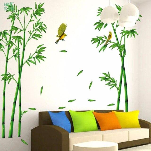 Grner Bambus Wald Wandaufkleber Vinyl DIY Dekorative Wandkunst Fr Wohnzimmer Schrank Dekoration Wohnkultur