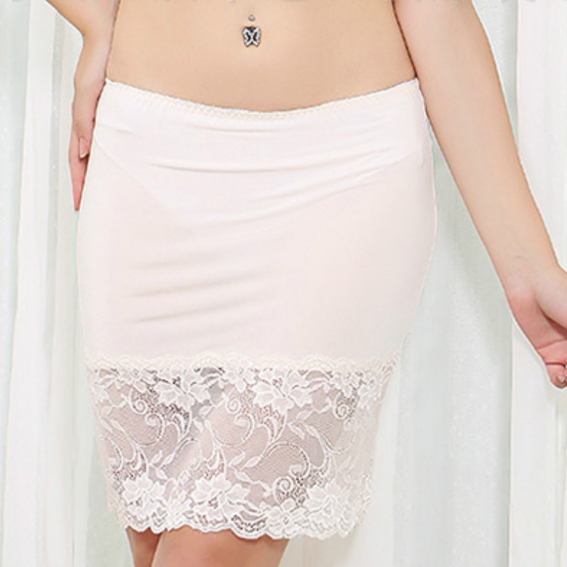 Women Silk Lace Skirts Petticoat Slim Slim Underskirts Straight Silk Solid Color At Knee-Length Skirts Office Skirt 914-A202(China)