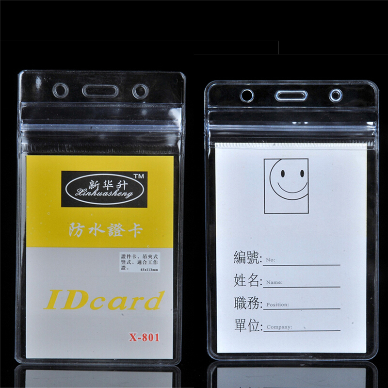 10pcs Transparent Waterproof Card Cover Zipper Vertical ID Card Badge Holder Office Supplies