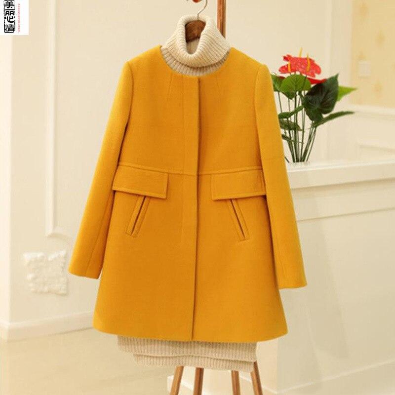 Nouvelles De yellow Coréen Épais Rond Dame Manteau Col Femmes Hiver Style Dy23 Purple Poitrine red Unique Solide Laine Bureau Mince Veste Long EBwq4d