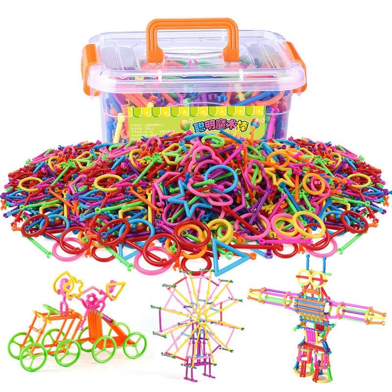 500 adet/takım Plastik Blokları Inşaat oyuncak seti Akıllı Sihirli Değnek Montaj Ekleme blok oyuncaklar Çocuklar Için saklama kutusu