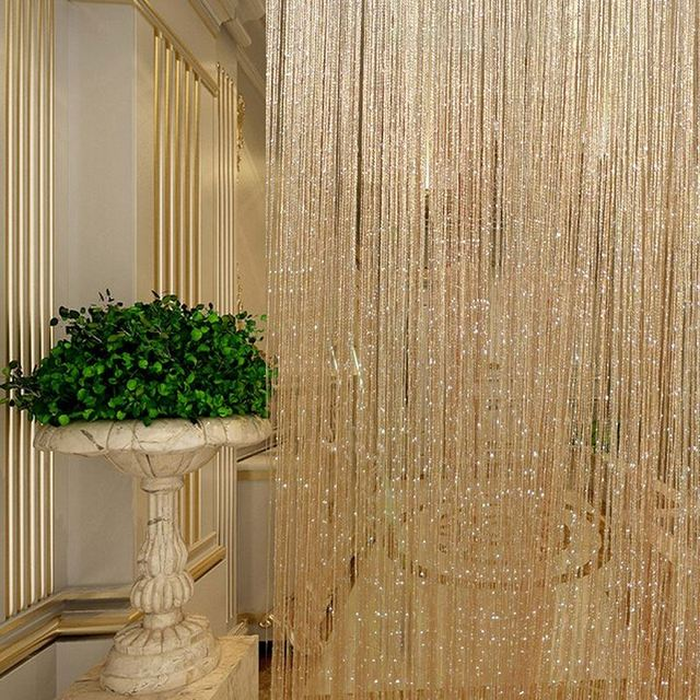 Tassel Glitter Curtains String Champagne for Living Room Window ...