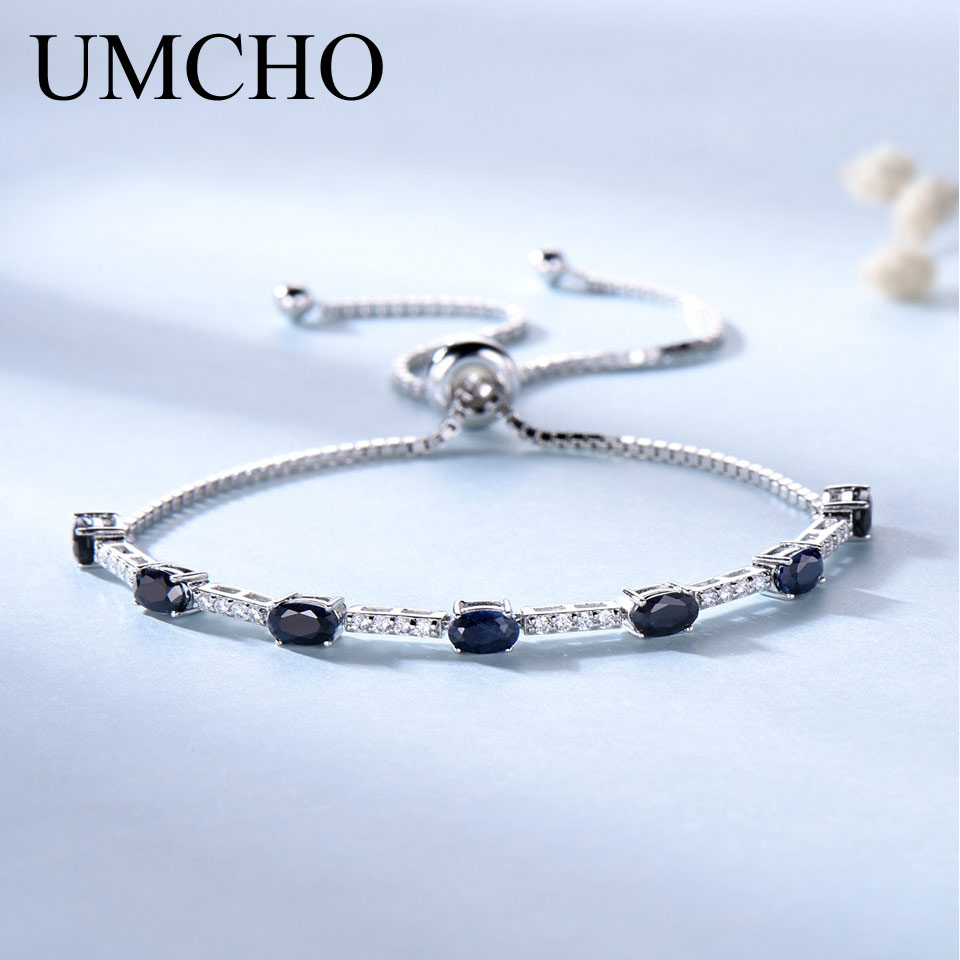 UMCHO 2.45ct Luxury Natural Blue Sapphire Bracelet  For Women 925 Sterling Silver Jewelry Gemstone Romantic Wedding Party GiftUMCHO 2.45ct Luxury Natural Blue Sapphire Bracelet  For Women 925 Sterling Silver Jewelry Gemstone Romantic Wedding Party Gift