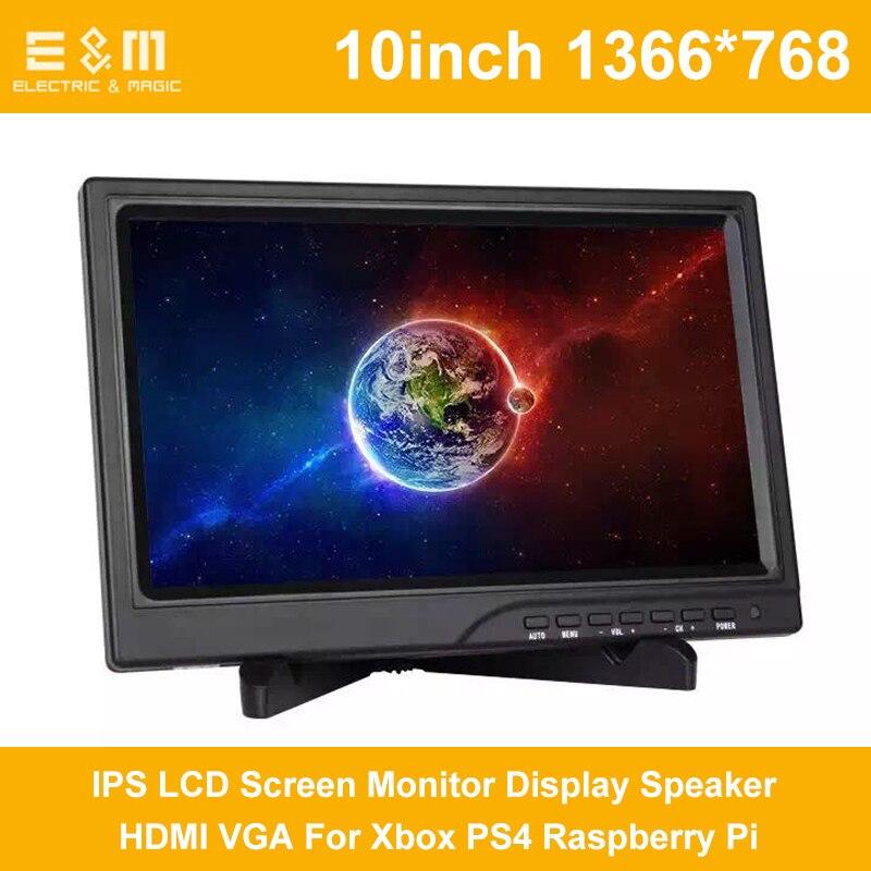 10 pouce 1366*768 1080 p IPS Écran LCD Moniteur De Haut-Parleur D'affichage HDMI VGA Pour Xbox PS4 Framboise Pi